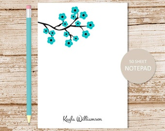 personalized floral notepad . flower note pad . blue blossoms notepad . womens personalized stationery . botanical stationary