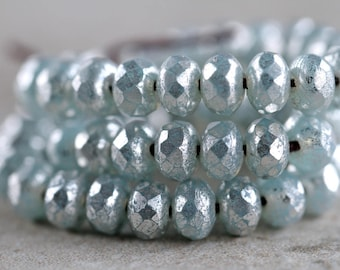 3x5mm Opal Blue & Silver Mercury Lustre Rondelle Beads, Czech Glass Beads, Fire Polished beads, Glass Gemstone Cut Donuts (50pcs) NEW