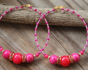 Dangle Hoops,  Fuchsia fossil stones, jade stones