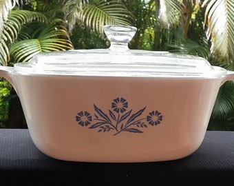 1960's Blue Cornflower 1 1/2 QT. Corning Ware with Pyrex lid