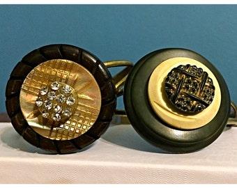 Handmade OOAK Vintage Button Bracelet, Stacked button bracelet, Earth Tones, MOP, Rhinestones, Stacked Buttons Adjustable Bracelet