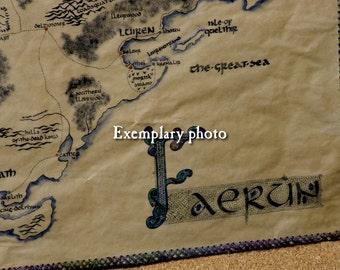 MTO. Large, handdrawn, realistic Faerun map. (Please, read description). Fully handmade.