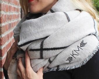 Reversible Blanket Scarf -Monogrammed