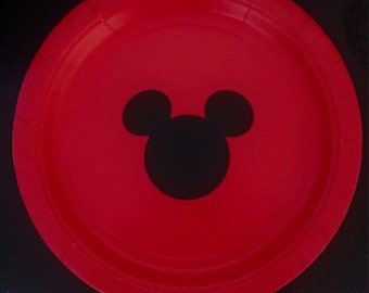 10 Red Mickey Mouse Birthday Dinner Plates/ Birthday Plates & Disney dinner plate | Etsy