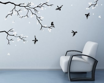 Wall Stickers For Bedrooms Realistic Natural Tree Branch With Birds Cool  Decals For Walls Decals Art By DecalIsland Ree Branch Leaves SD 007