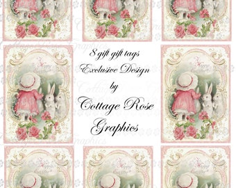 Digital Happy EASTER  gift tags white bunnies Pink  download buy 3 get one free  ecs rdtt sfvteam