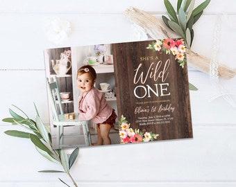 Wild One Birthday Invitation, First 1st Birthday Invitation, Rustic Boho Girl Birthday Invitation, Floral Girl First Birthday Invitation