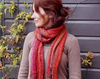 Hand Woven Striped Scarf in Lambs Wool, Kid Mohair and Silk - Fiery Autumn shades