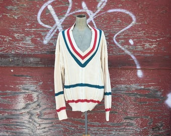 Vintage 1990s Slouchy Deep V Neck Cable Knit Sweater (Size Large)