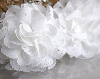 2 White Eyelet Flower - Fabric Flower - Vintage Chiffon Flower - Lace rose - Wholesale flowers - Lace Flower - Eyelet Fabric Flower