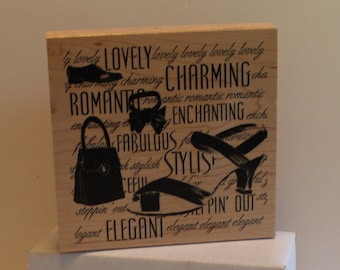 Lovely Elegant Shoes Purse Stylish Steppin' Out Collage Rubber Stamp