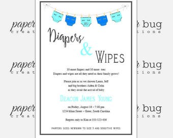 Diaper and wipes shower, sprinkle shower, baby invite