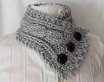 Fishermans Wife Cowl,  Cable Knit Cowl, Chunky Scarf, Knitted Cowl, Cable Knit Scarf, Color Pewter Gray