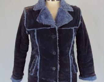 SUEDE coat / vintage 1970s fur coat /suede and fur 70s coat