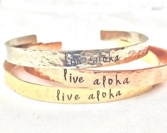 Live Aloha, Hawaii Jewelry, Live Aloha Bracelet, Hawaiian Jewelry, Graduation Gift, natashaaloha, Beach Bracelets
