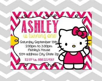 Hello Kitty First Birthday Invitation/Card Hello Kitty Birthday Party