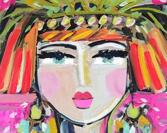 Abstract Portrait Print, Warrior Girl, Flapper Girl