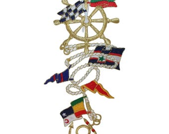 ID 1993 Nautical Boating Chain Patch Sail Ship Decor Embroidered IronOn Applique