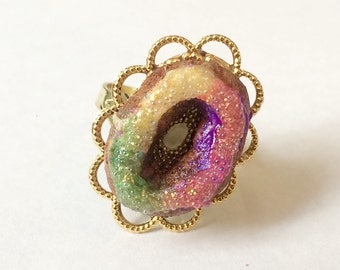 King Cake Ring - Handmade Polymer Clay - Gold Tone