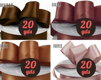 """Satin Brown Ribbon - Choose Your Shade - 7/8"""" wide at 20 yards"""
