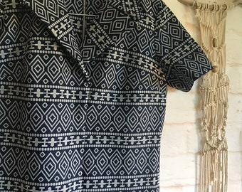 Vintage Jackie O style shift dress L