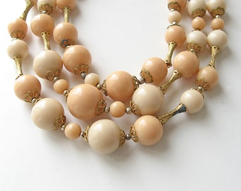 Stranded beaded necklace, vintage 3 stranded necklace, beige beads jewelry, 1950s jewelry
