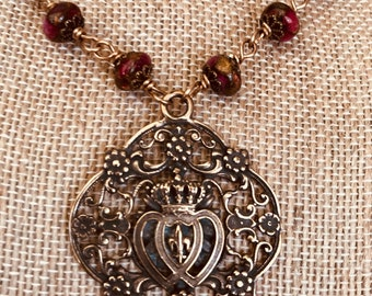 Immaculate and Sacred Heart Bronze Necklace, Ruby Red Golden Pressed Jade Rondelle, Wire Wrapped