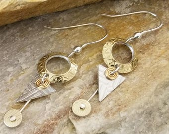 Gold & Silver Statement Jewelry, Contemporary Metal Earrings, Modern Drop Earrings, Holiday Gifts For Women - Perth Earrings by Jon Allen