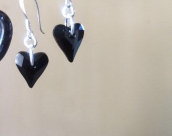 Black heart swarovski crystal sterling  silver
