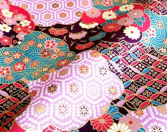 Japanese fabric, traditional pattern, flower, cotton 110 x 50 (168B)