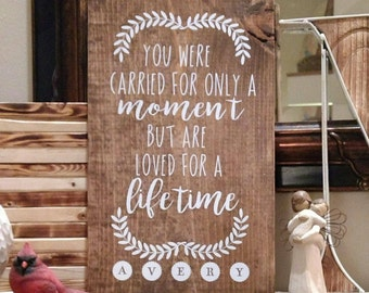 You were carried for only a moment miscarriage sign wall sign Loss of a Child Gift for the Parents