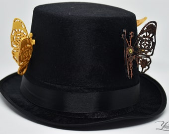 Steampunk top hat with butterflies