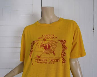 Early 80s Turkey T-shirt in Mustard Yellow Vintage 1980s Novelty Screen Print- WSU Wichita State- Collegiate College University Fraternity
