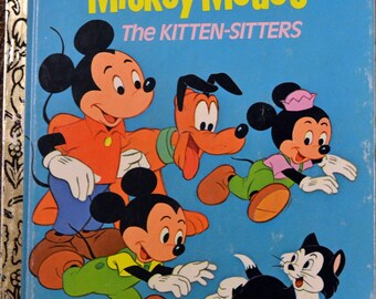 "5 for 10 Bucks Vintage Children's Book ""Walt Disney's Mickey Mouse The Kitten Sitters"" Little Golden Book Reading to Children"