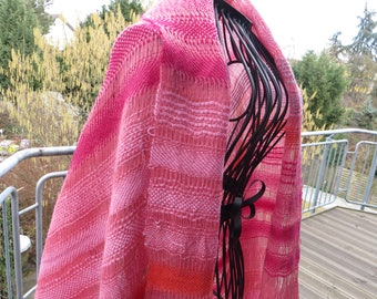 handwoven wrap, scarf,  stola, light, pink, orange, grey