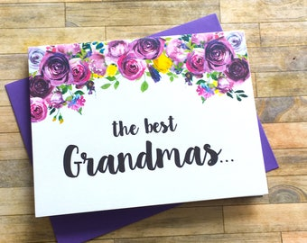 Pregnancy Announcement Card - Pregnancy Reveal to Grandma Card - New Great Grandma Baby Announcement - Having a Baby - Im Pregnant - VIOLETS