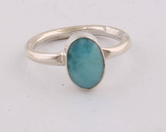 Silver Ring 925 sterling silver ring with larimar gemstone