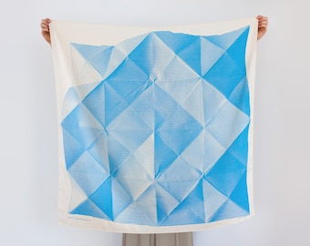 Free Shipping Worldwide / Folded Paper furoshiki (blue) Japanese eco wrapping textile/scarf, handmade in Japan
