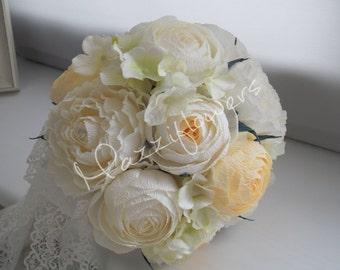 Wedding bouquet, Bridal bouquet,paper flower bouquet,wedding flower,ranunculus, peony, hydrangea, ivory, cream