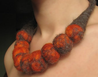 Sea Buckthorn Orange Berries Felt Necklace \/ Choker -- made from wool