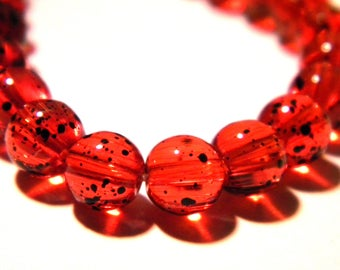 30 glass beads 6 mm red-speckled translucent glass - G34