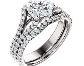 1 CT Round Forever Brilliant Moissanite Solid 14K White Gold Diamond Halo Engagement  Ring Set  - ST233105