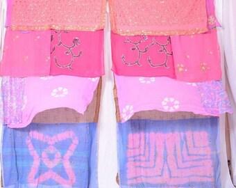 Boho Gypsy Sari Curtains Boho Decor Upcylced Bohemian Gypsy Curtains saree sarees multi color C209