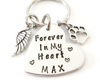 Forever in my heart, Personalized Pet Memorial Keychain, Memory of Pet, Pet Remembrance, Loss of Pet, Dog Loss Gift, Pet Tag Keychain