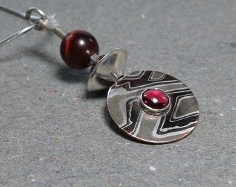 Mokume Gane Pendant Pink Tourmaline, Tiger Eye Necklace Argentium Sterling Silver Gift for Wife