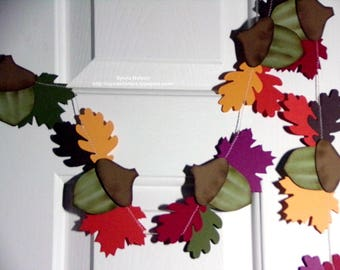 New Large Leaf and Acorn Cluster Garland ...9 Ft of Leaves and  Large Acorns..Fall photo prop...Thanksgiving...fall decor...fabulous colors