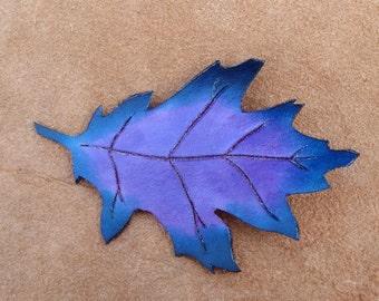 Purple Leather Oak Leaf Clip