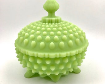 Fenton Jadeite Hobnail Covered Candy Dish