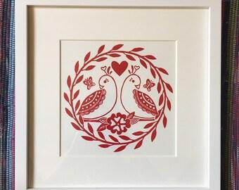 Love Birds Original Block Print