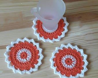 Crochet coaster/Drink coasters /Christmas gift/Set of 3 crochet coasters/White with orange coaster/Home, table decor